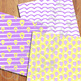 Hot Air Balloons Backgrounds / Purple and Yellow Digital Papers
