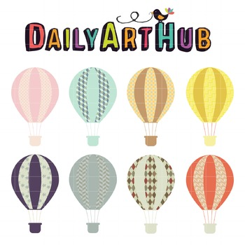 Hot Air Balloons Clip Art - Great for Art Class Projects!