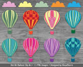 Hot Air Balloon Clip Art, 8 Colorful Balloons and 4 Cloud Illustrations