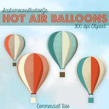 Hot Air Balloons Clipart, 300 dpi Commercial Use