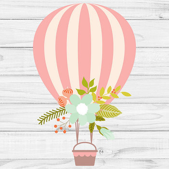 Hot Air Balloons Clipart, Floral Balloons {Pretty Graphics}