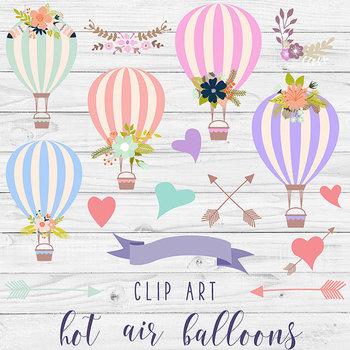 Hot Air Balloons Clipart, Floral Balloons