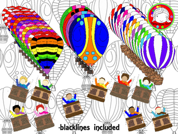 Hot Air Balloons Clipart (Personal & Commercial Use)
