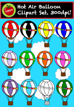Hot Air Balloons Clipart (Set of 12) For commercial use. 300dpi