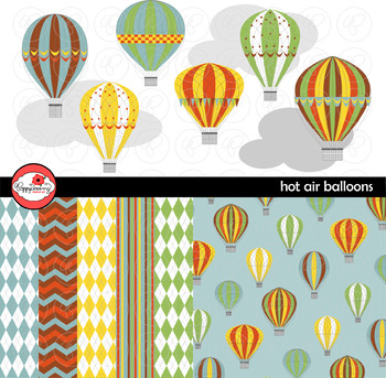 Hot Air Balloons Clipart and Digital Paper by Poppydreamz