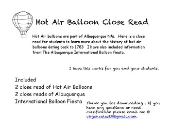 Hot Air Balloons Close Reads