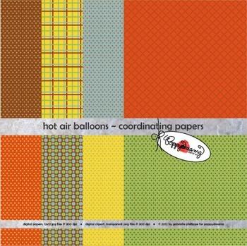 Hot Air Balloons Coordinating Digital Paper by Poppydreamz