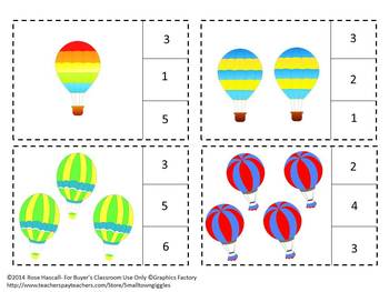 Hot Air Balloons Counting to 20, Count and Clip, Summer School Math
