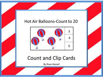 Hot Air Balloons Counting to 20, Count and Clip, Summer Sc