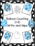 Hot Air Balloons Counting 0-10 Write and Wipe