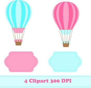 Hot Air Balloons Digital Paper & Clipart