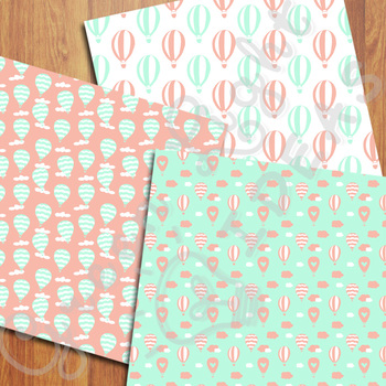 Hot Air Balloons Digital Papers / Mint and Coral Backgrounds
