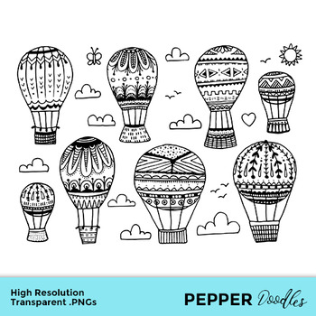 Hot Air Balloons - Doodle Clipart - Transparent PNGs