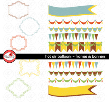 Hot Air Balloons Frames and Banners Clipart by Poppydreamz