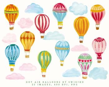 Hot Air Balloons Illustration, gouache clipart, birthday invitation
