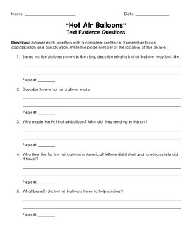 Hot Air Balloons Text Evidence Questions