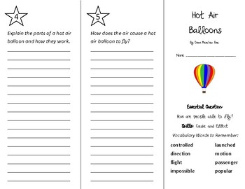 Hot Air Balloons Trifold - Wonders 3rd Grade Unit 4 Week 4