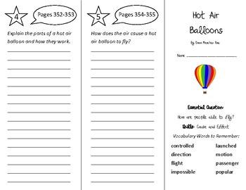 Hot Air Balloons Trifold - Wonders 3rd Grade Unit 4 Week 4