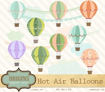 Hot Air Balloons Vector and PNG Clipart