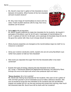 Hot Chocolate 5th Grade Math and Science Questions