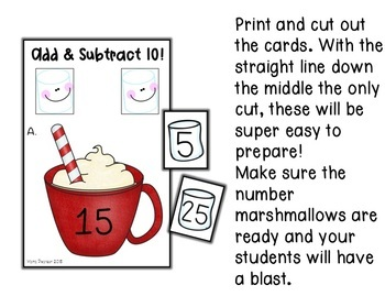 Hot Chocolate Adding and Subtracting 10 Math Center