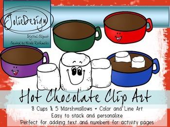 Hot Chocolate Clip Art - Color and Line Art 16 Piece Set