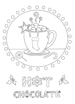 Hot Chocolate Coloring Page from Ornaments of Love Coloring Book