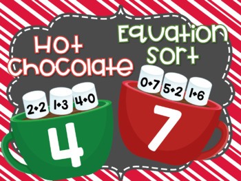 Christmas Equation Sort Game Numbers 2 to 9 Math Center Winter Themed