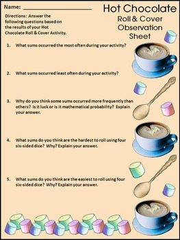 Hot Chocolate & Hot Cocoa Activities: Hot Chocolate Roll & Cover Math Activity