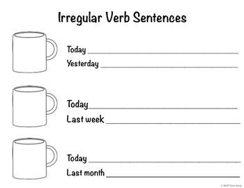 Irregular Past Tense Verbs Hot Chocolate Cards, Worksheet, and Board Game