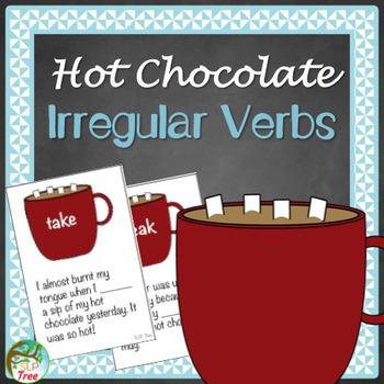 Irregular Past Tense Verbs Hot Chocolate Cards, Worksheet,