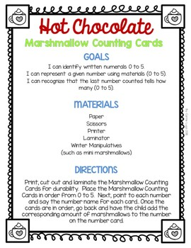 Hot Chocolate (Level 1) Marshmallow Counting Cards