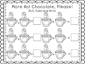 Hot Chocolate Math {Add the Room, Roll, Add, Write}