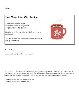 Hot Chocolate Mix Recipe and Proportions