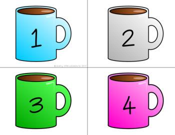 Hot Chocolate Mugs & Marshmallows Number Match - Pre-K