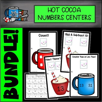 Hot Chocolate Number Math Centers Bundle