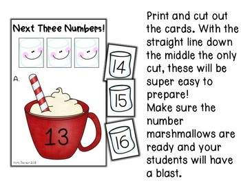 Hot Chocolate Previous and Next Three Numbers Math Centers