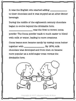 Hot Chocolate Reading Comprehension, Worksheets, Sequence and Matching Tasks