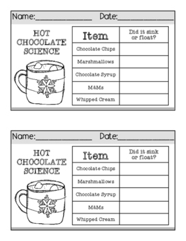 Hot Chocolate Science: A Fun, Delicious SINK OR FLOAT Activity!