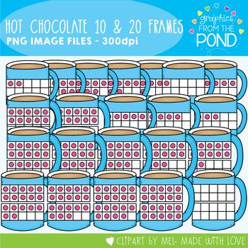 Hot Chocolate Ten and Twenty Frame Clipart