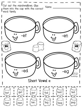 CVC Hot Chocolate Word Families - Short Vowels Level 1