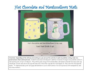 Hot Chocolate and Marshmallows Math Story Problem
