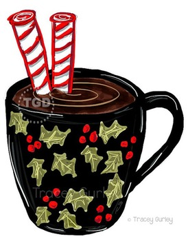 Hot Christmas Cocoa clip art Printable Tracey Gurley Designs