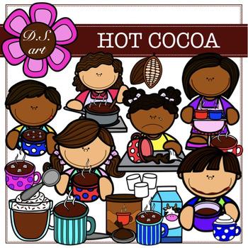 Hot Cocoa Digital Clipart (color and black&white)