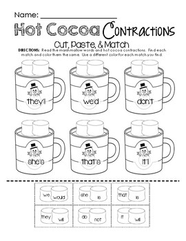 Hot Cocoa Contractions Printable Pack