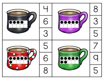 Hot Cocoa Count and Clip 10-Frame Cards (through 10)