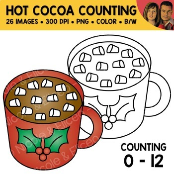 Hot Cocoa Counting Scene Clipart