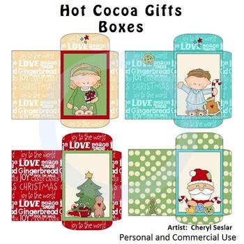 Hot Cocoa Gift Boxes Color Clip Art C. Seslar