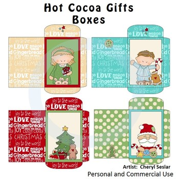 Hot Cocoa Gift Boxes Color Clip Art C. Seslar