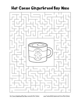 """Hot Cocoa Gingerbread Boy"" Maze! Holiday FUN! (Color and Black Line)"